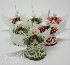 I have seen these Angel Ornaments made by loads of different people but the video by Kay Kalthoff was super easy to follow and really inspired me to give these cuties a go for myself.  I made mine using some of the lovely Be of Good Cheer DSP, some Very Vanilla Paper Doilies and Vellum card stock wings embossed with the Lacy Brocade embossing folder out of the Holiday Catalogue.  The little 'collar' for each angel was made using the Finishing Touches Edgelit and a 1/2″ circle punch.