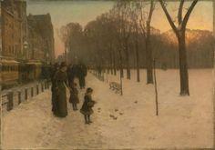 print of Boston Common at Twilight, 1885-86 Childe Hassam, American (1859-1935); original oil on canvas at MFA, Boston
