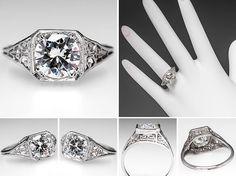 1950's Engagement Ring 1.3 Carat Round Diamond 14K White by EraGem, $9999.00