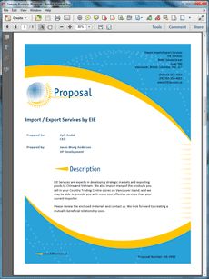 Import Export Services Sample Proposal - Create your own custom proposal using the full version of this completed sample as a guide with any Proposal Pack. Hundreds of visual designs to pick from or brand with your own logo and colors. Available only from ProposalKit.com (come over, see this sample and Like our Facebook page to get a 20% discount)