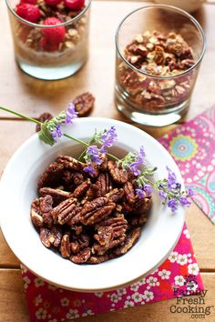 Crunchy Maple Roasted Pecans | great for snacks, granola + ice cream topping | FamilyFreshCooking.com