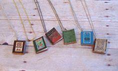 DIY: Miniature Book Pendants miniatur, book lovers, craft, pendant, mini books, librari, book necklac, necklaces, book cover