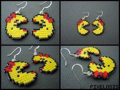 Handmade Seed Bead Mrs. Pacman Earrings by Pixelosis