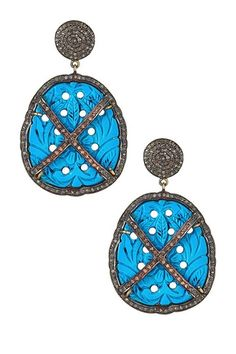 Pave Diamond Carved Turquoise Onyx Drop Earrings - 1.80 ctw on HauteLook