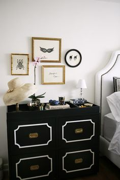 Elegant Black Dresser for the Bedroom    add white molding and repaint hardware for dresser in our room. add gold frames onto walls too. maybe paint room white??