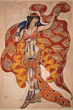Ballet Russes Oriental  1913 Costume Design  Leon Bakst.