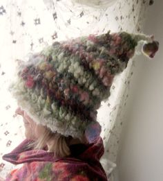 rustic puffy soft handknit slouchy hat -  enchanted forest  patchwork faerie thinking cap. $80.00, via Etsy.