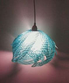 Ali Hanging Pendant Lamp in Aqua (Large) - Celebrate October with FREE Shipping. $40.00, via Etsy.