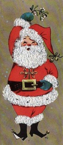 christma card, christmas cards, a kiss, vintage christmas, vintage santas, santa claus, santa christma, snow glitter, santaclaus