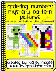 Ordering Numbers Mystery Pattern Pictures - Before, After, Between (Common Core) product from FirstGradeBrain on TeachersNotebook.com