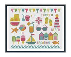 motif cross, crossstitch, cross stitch beach, beach cross stitch patterns, beach motif, cross stitches