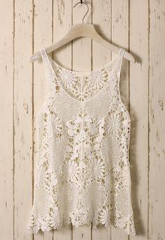 White Floral Crochet Top #boho #hippie #fall #fashion #white #lace #shirt