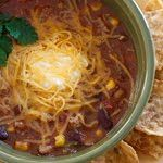 Crock Pot Chicken Taco Chili #chili #chicken #crockpot #slowcooker #taco #soup #superbowl