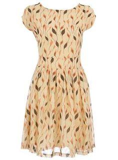 leaf print, cloth, style, print dress, amaz print, dresses, prints, leaves, cream leaf
