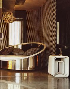 modern furniture, interior design, beds, retro interior, design interiors, gold bedroom, lounge chairs, 70s loung, hous