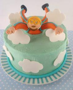 cake idea, skydive birthday cakes, heart sugar, food, birthdays, butter heart, fall birthday, skydiv cake, parti idea