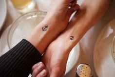 tattoo ideas, small tattoos, anchor tattoos, wrist tattoos, matching tattoos, a tattoo, sister tattoos, couple tattoos, friend tattoos