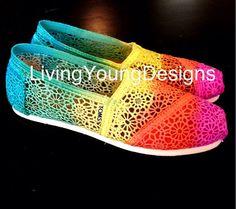 Tie Dye TOMS Rainbow Tie Dye Crochet Ombre Toms