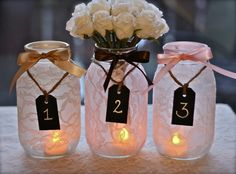 table number idea with jars, lace, ribbon, tags and parcel string with a tea-light inside