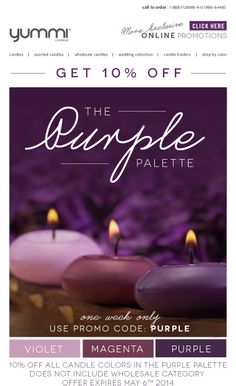 10% Off The Purple Palette - All Violet, Magenta and Purple Candles - ONE WEEK ONLY