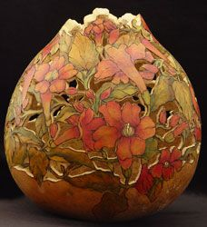 Beautifully Carved and Painted Gourd