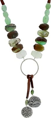 Chrysoprase beads, coin charms and deerhide leather.  This necklace is perfect.