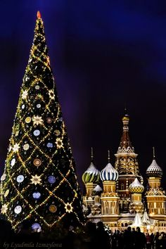 Christmas Tree on the Red Square Moscow. against the background of cathedral of Basil Blessed. night shot. Photo by Lyudmila Izmaylova