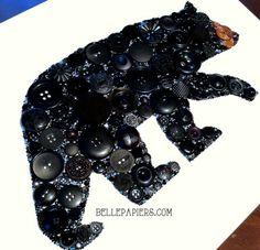Button Art Button & Swarovski Black Bear