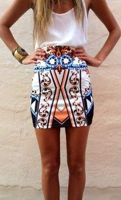 cute outfit, featuring elaborate print on skirt