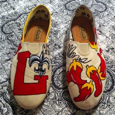 Custom hand painted Toms... University of Louisiana at Lafayette. $40 for art, shoes not included. Facebook me if interested