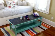 Game Table.  Paint top with chalkboard paint.  Perfect to keep score and play Pictionary!
