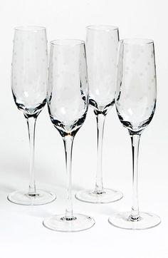 kate spade new york larabee dot champagne flutes (set of 4) | Nordstrom