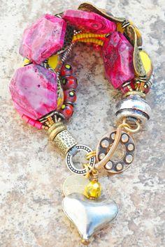 Bracelet | Heart | Charm | Pink | Yellow | Bronze | XO Gallery | XO Gallery