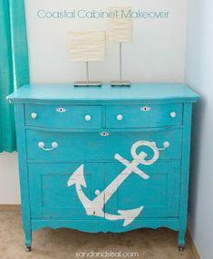 Beach House Decorating   Nautical Beach Home Interiors: Anchors Aweigh   http://nauticalcottageblog.com