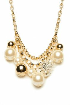 Pearls and Snowflakes Necklace