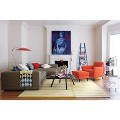 interior, counsel room, accent chairs orange, rug, loft living rooms