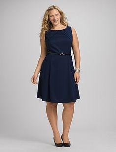 Plus Size Pleated Belted Dress | Dressbarn