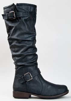 Amazon.com: Bamboo MONTAGE-02N Women Slouchy Crinkle Buckle Detail Knee High Riding Boot ZOOSHOO: Shoes