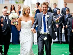 Maybe navy bridesmaids dresses and grey groomsmen suits with navy ties? Kind of love everything about this.