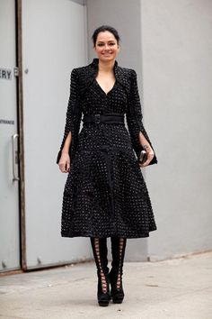 What's not to love about a major coat and lace-up boots.    #streetstyle #newyorkfashionweek #fashion #fashionweek #style