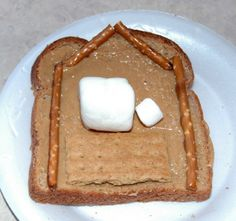 Baby Jesus crafts and snacks- peanut butter bread nativity