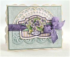 Love the array of die cut shapes and beautiful springtime palette. #cards #spring #purple #scrapbooking