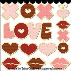 Sweetheart Cookies 1 Clip Art - Original Artwork by Trina Clark