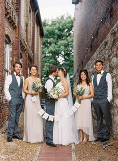 bridal party + wedding sign, photo by Cassidy Carson Photography http://ruffledblog.com/the-2nd-notwedding-nashville #weddingsigns #bridalparty