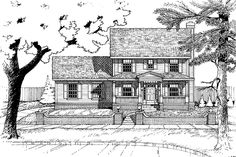 Home Plans HOMEPW06143 - 1,628 Square Feet, 3 Bedroom 2 Bathroom Country Home with 2 Garage Bays