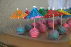 Cake Pops at a Luau Party #luau #cakepops-- thats a great idea, umbrellas instead of plain sticks, could do mini fruit kabobs, pineapple and chicken or shrimp appetizer... getting ideas...