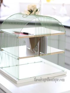 birdcage desk organizer - so thrifty and cute