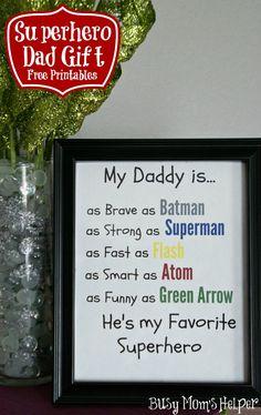 Superhero Dad Gift Free Printables via @Danielle {Busy Mom's Helper} #fathersday #dadgift #freeprintable #superhero