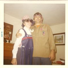 My Dad (glutton for punishment) was married 3 times. Here he is in 1970 with Ginni - Over the years I have seen him dressed as assorted crazies, including a pilgrim, a hippie and an outer space creature! www.DebBixler.com pilgrim