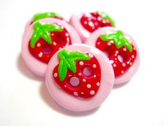 Summer Strawberries handmade buttons set of 5 by TessaAnn on Etsy, $7.25
